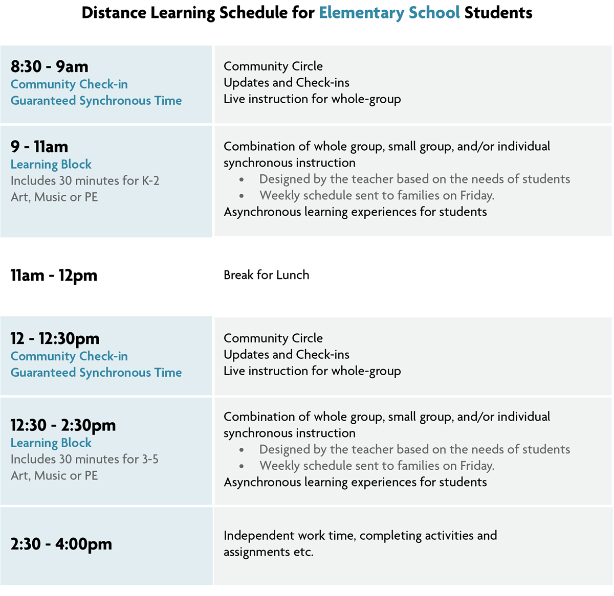 elementary distance learning schedule